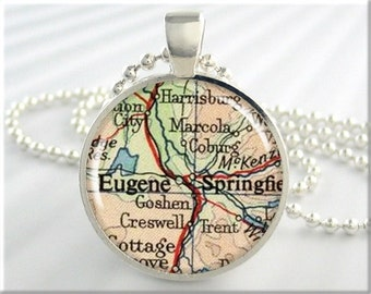 Eugene Map Pendant, Resin Charm, Eugene Oregon Map Necklace, Picture Jewelry, Map Charm, Round Silver, Gift Under 20, Travel Gift 346RS