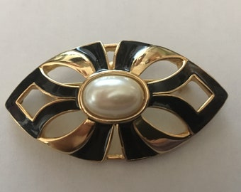 Vintage Black Enamel and Faux Pearl Brooch - Unsigned