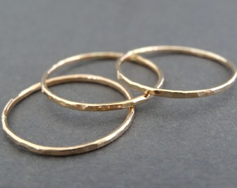 Thin Gold Rings 14 k Gold Filled Ring Stacking Rings skinny hammered stackable thumb rings gold stacking rings set