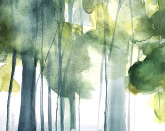 Grove II - Watercolor Painting - Trees in Art - Landscape Painting Print - 8x10 Giclee Print - Forest - Green - Blue - Nature - Gallery Wall