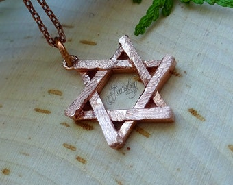 Rose-Gold Rustic Textured Star of David .925 Silver Necklace