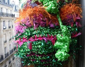 Big bag tote crochet festive fairy ruffle bag raffia ribbon wearable art orange green lime yellow pink red purple 3D threads magic fibers