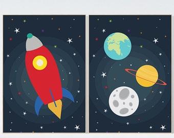 Space Theme Nursery Art Boy Bedroom Decor Boy Nursery Art Nursery Art Set  Of 2, Outer Space Wall Art, Nursery Wall Art, Solar System Art