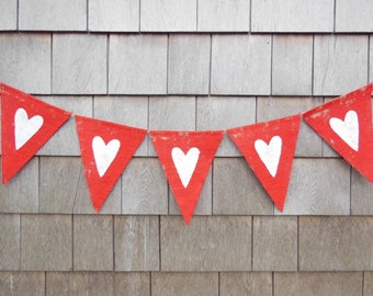 Valentines Day Decor, Heart Banner, Valentines Banner, Heart Garland, Heart Bunting, Valentines Garland, Burlap Valentines, Red and White