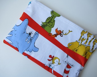 Dr. Seuss The Grinch and Cat in the Hat Print Pouch / Make up bag/ Pencil case