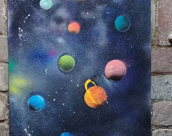 galaxy spray paint art