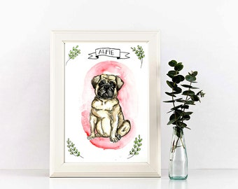 Watercolor pet portrait, custom pet illustration, 5x8 custom pet art