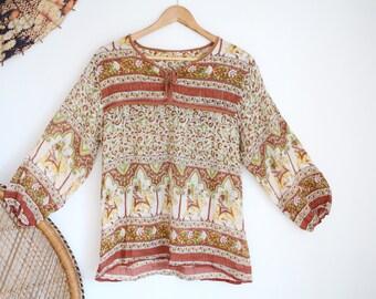 Vintage floral indian india cotton 70s style 90s boho top blouse S M