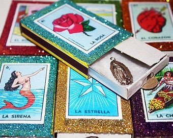 Mexican Milagro Wedding Favors Loteria Matchboxes with Milagros - Set of 25