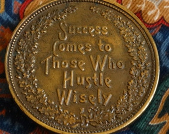 """Vintage Belt Buckle, Brass Belt Buckle, Bohemian Boho Style, """"Success comes to those who hustle wisely"""""""
