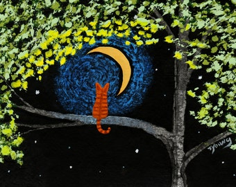 Orange Tabby Cat  Folk Art print by Todd Young painting Pistachio Moon