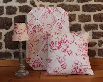 Clarke and Clarke Raspberry Delphine Set of Soft Furnishings (Lampshade; French Memo Board; Cushion) - home decor