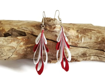 Earrings red and white satin ribbons