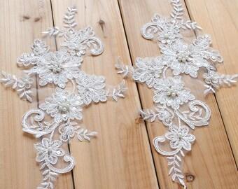 OffWhite Alencon Lace Applique/Lace Wedding Dress/Boho Wedding Dress/Beaded Applique/Vintage Dress/Prom Dress/Bridal Applique pair/ALA-11