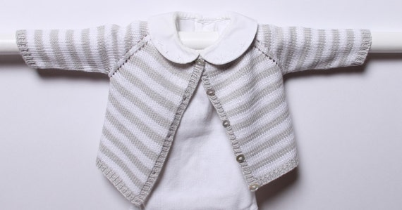 Knitting pattern Striped Cardigan / Instructions in English PDF Instant Download / Sizes newborn / 3 / 6 / 9 /12 months