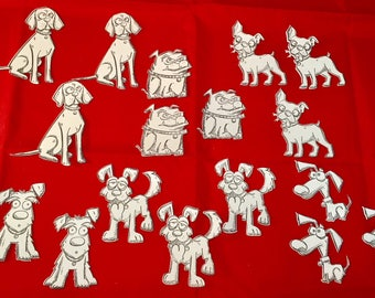 Tim Holtz Die Cuts * Crazy Dogs * Hand Stamped * 18 Pieces * 6 Different Dogs - 3 of Each! * Add to your own cards * Cute * Funny!
