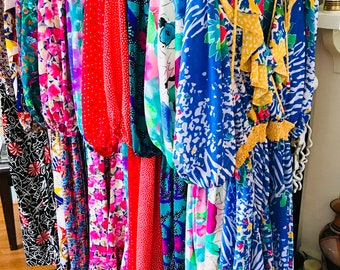 Lot of 9 DIANE FREIS Dresses, Set of nine dresses, Bridesmaids Dresses, Vintage 80s dress, Floral flowy, Bright Colorful, Ruffle Boho gypsy