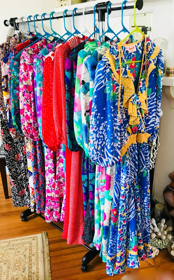 Lot of 6 DIANE FREIS Dresses, Set of six dresses, Bridesmaids Dresses, Vintage 80s dress, Floral flowy, Bright Colorful, Ruffle Boho gypsy
