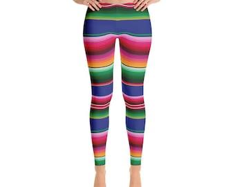 Mexican Serape Leggings, Pattern Leggings, Serape Leggings