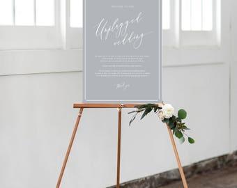 PRINT Unplugged Wedding Sign - No photos Sign - PRINT