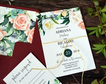 Wedding Invitation Set, Floral Wedding Invitations, Calligraphy, Watercolor Rustic Invitation Suite