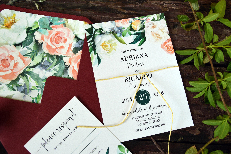 Wedding Invitation Set Floral Wedding Invitations