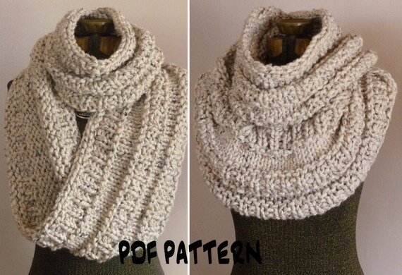 Knitting Pattern Chunky Infinity Scarf Cowl The Neil
