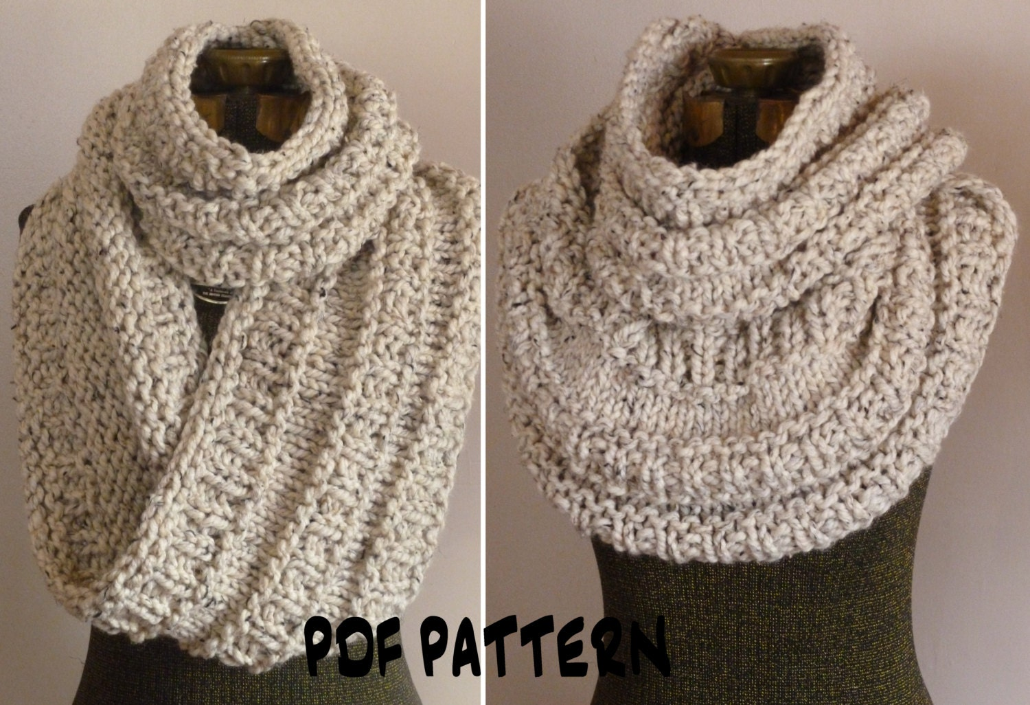 Knitting Pattern Chunky Infinity Scarf Cowl THE NEIL NECKWARMER ...
