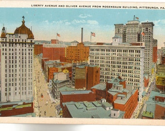 Vintage Postcard, Pittsburgh, Pennsylvania, Liberty Avenue and Oliver Avenue