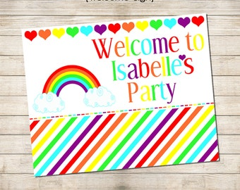 8 x 10 Welcome Sign Printable - Rainbows & Hearts Party Collection