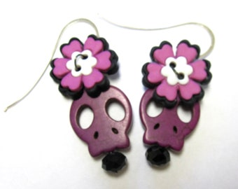 Sugar Skull Earrings Day Of The Dead Jewelry Purple