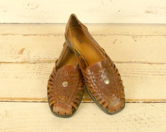 Vintage leather Huarache sandals/brown leather sandals/woven leather sandals/10