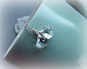 Clear quartz earrings, unusual earrings, rock crystal earrings, bridal earrings, pentagon earrings, 925 silver earrings, birthstone earrings