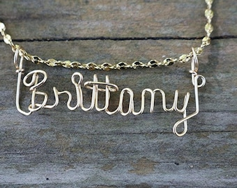 Brittany Name Necklace, Handcrafted Cursive Name in Script, Gold or Silver, Personalized Name Your Choice, Custom Name Necklace, Mom Gift