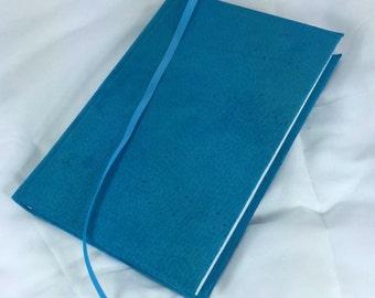 Blue Suede Notebook, Handbound Journal, Leather Diary, Blue Leather Agenda, Blank Sketchbook, Handsewn Keepsake Book, Traveler's Journal