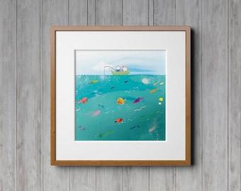 Gone Fishing, Nature Prints, Ocean Print, Ocean Decor, Childrens Art, Baby Room, Boys Room Decor, Fishing, Wall Art, Fishing Decor