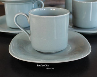 Mikasa Bergen Green Cups and Saucers - Vintage Color Classics Line - Rare - Square Profile Saucers
