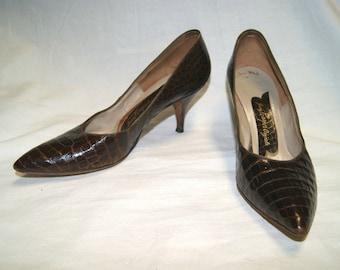Vintage 50s Brown Reptile Alligator Leather Heels Pumps Shoes - Size 7 N