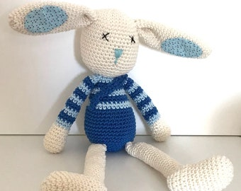 Rob Rabbit – Crochet and Fabric Plushie Soft Toy – BABY SAFE and UNIQUE