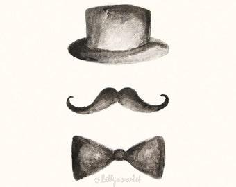 Moustache Art, Moustache Hat & Bowtie 8x10 Print - Ink Illustration Perfect Gift for Boyfriend or Husband