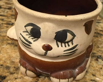 "Vintage cat kitty clay ceramic planter Vase, 3-3/4"" t, 3-3/4"" diameter folk artsy hand painted, cute"