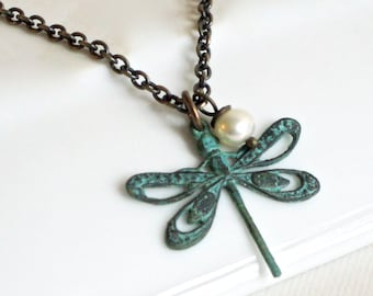 Small Dragonfly Necklace - Dragonfly Jewelry, Nature Jewelry, Garden Jewelry, Patina Dragonfly, Minimalist Jewelry, Cutout Dragonfly