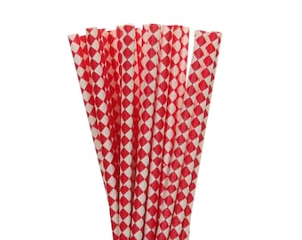 Paper Straws, Red Diamond Paper Straws, Circus Party Supplies, Carnival Party Straws, Red 1st Birthday Decor, Red Graduation Party Straws