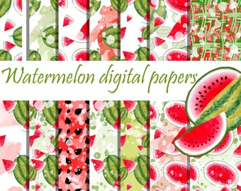 Watermelon digital paper Melon patterns Watermelon background Seamless Patterns hand painted watercolor papers Printable Scrapbooking papers