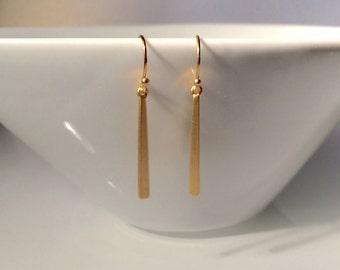 Matte Gold Bar Earrings