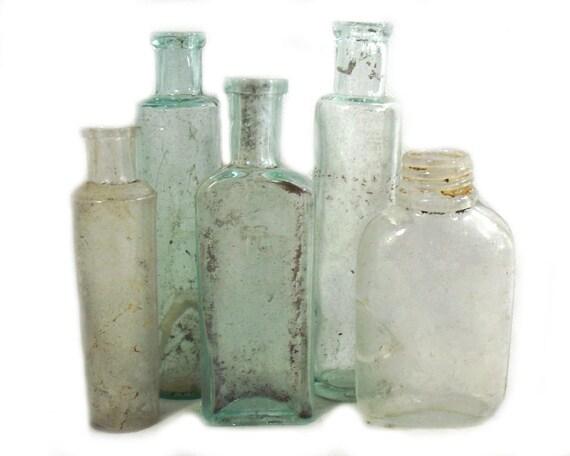 """5"""" Antique & Vintage Set of Glass Bottles"""