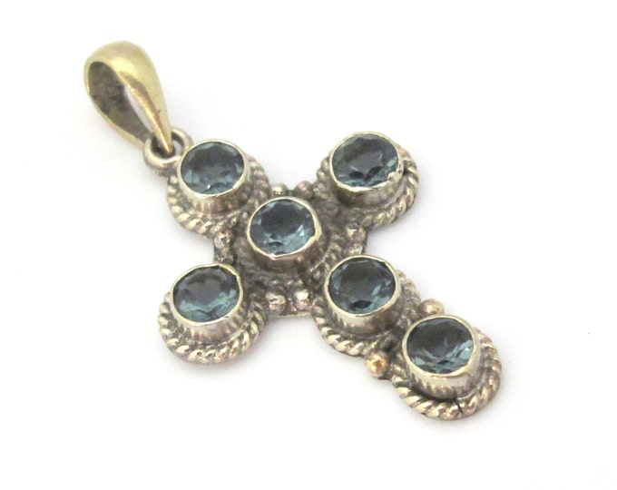 1 Pendant - Tibetan silver faceted iolite gemstone cross pendant from Nepal  - PM446A