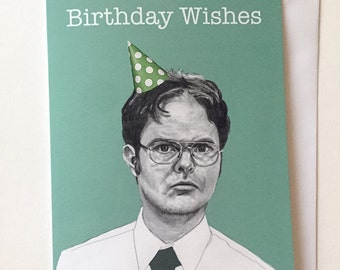 Dwight Schrute US Office Illustrative A5 Birthday Card