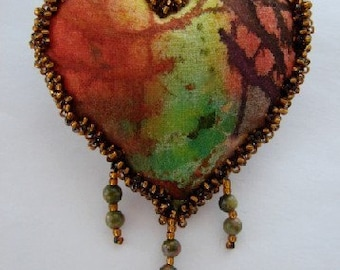 HEART PIN-Unakite Gemstones and Seed Beads on Batik Fabric  (Similar Heart Made to Order by Request)