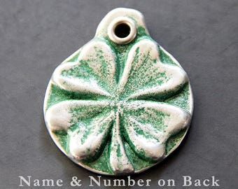 Custom Shamrock Dog ID Tag, Personalized, Double Sided, Metal Dog Collar Tags